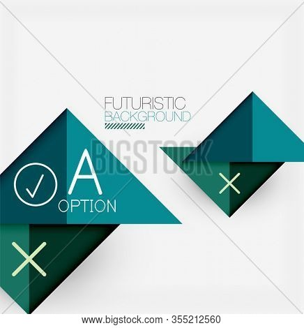 Abstract background, geometric business multicolored paper infographic - triangle frames for text, icons or graphics on light background with copyspace. Illustration For Wallpaper, Banner, Background