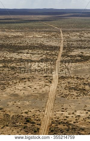 Desert Dirt Road Aerial View, Middle Of Nowhere Concept Near The Outback Town Of Marree South Austra