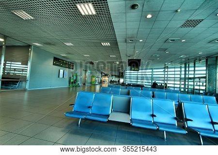 Lisbon, Portugal- March 11, 2020: Few People At Lisbon Airport Called Humberto Delgado Or Portela Ai
