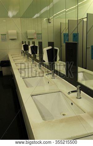 Lisbon, Portugal- March 11, 2020: Empty Ladies Toilets At Humberto Delgado Or Portela Airport In Lis