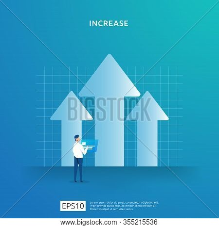 Growth Up Arrow Illustration Concept. Business Profit Grow Or Income Salary Rate Increase With Peopl