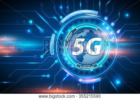 5g Wireless Network Technology Concept Background. 5g Cellular Mobile Networks Is High-speed Interne