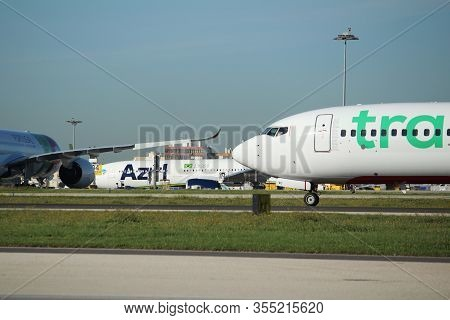 Lisbon, Portugal- March 11, 2020: Plane Of The Company Transavia Parked At The Lisbon Airport Called