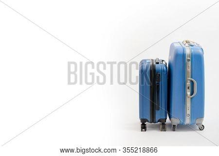 Two Blue Suitcase Isolated On White Background. Blue Suitcase.