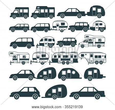 Assorted Camping Car And Trailer Icon And Logo Design