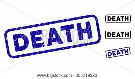 Death Stamp Seals. Blue Vector Rectangle Grunge Stamp Imprints With Death Text, Inside Rectangle Rou