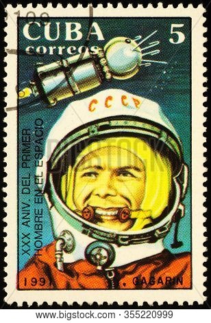 Moscow, Russia - March 11, 2020: Stamp Printed In Cuba Shows Yuri Gagarin (1934-1968), Soviet Air Fo