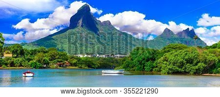Beautiful nature and landscapes of Mauritius island. Rempart mountain view from Tamarin Bay