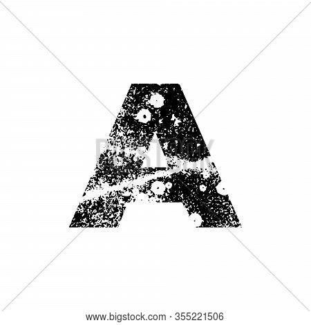 Painted Letter A. Grunge Alphabet Font. Abstract Handmade Sans Serif Typeface. Distress Textured Abc