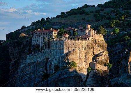 Monastery of Varlaam famous greek tourist destination Meteora in Greece on sunrise