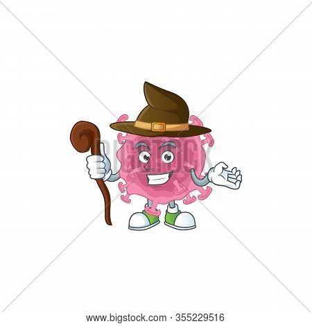 Sweet And Tricky Witch Corona Virus Parasite Cartoon Character