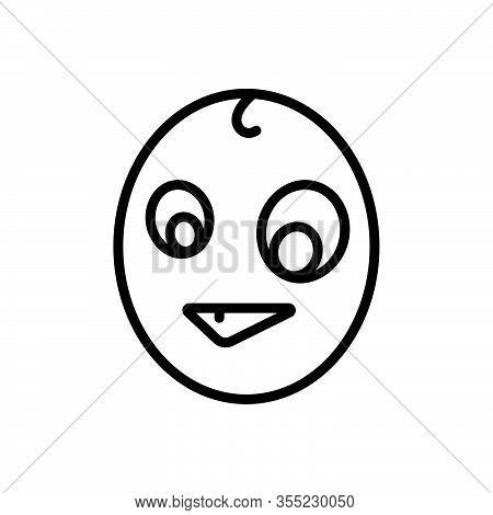 Black Line Icon For Odd Weird Peculiar Bizarre Quaint Pied Grotesque Mottled Emoji