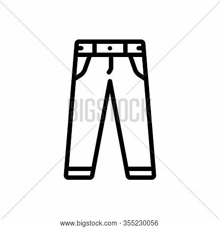 Black Line Icon For Pant Jeans Fashion Men-pant Clothing Trouser Garment Dress Costume