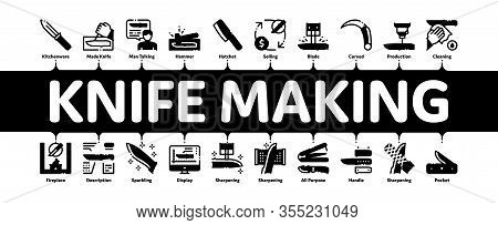 Knife Making Utensil Minimal Infographic Web Banner Vector. Sharpening And Machine Knife Making, Siz