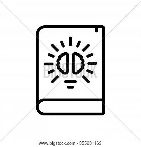 Black Line Icon For Knowledge Intelligence Comprehension Understanding Knowing Education Book