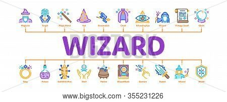 Wizard Magic Equipment Minimal Infographic Web Banner Vector. Wizard Wand And Hat, Sphere And Knife,