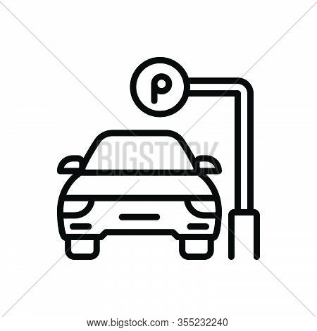 Black Line Icon For Parking Parking-sign Automobile Haunt Roadsign Vehicle Sign-board Regulation Gui