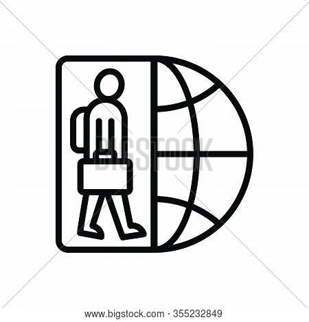 Black Line Icon For Immigrant Migrant Alien Foreigner Migrant Outsider Newcomer Non-native Stranger