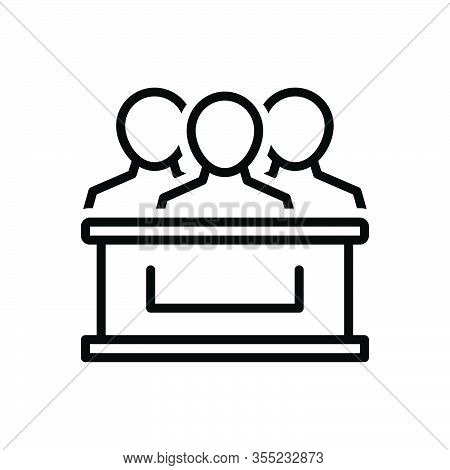 Black Line Icon For Jury Punch Arbitrator Referee Judge Member Critic Tribunal Committee