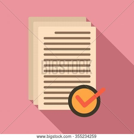 Receive Approved Documents Icon. Flat Illustration Of Receive Approved Documents Vector Icon For Web
