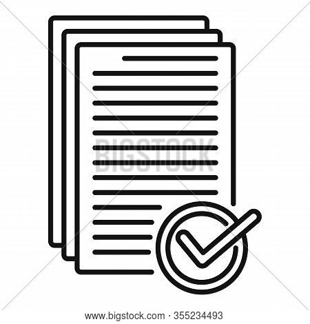 Receive Approved Documents Icon. Outline Receive Approved Documents Vector Icon For Web Design Isola