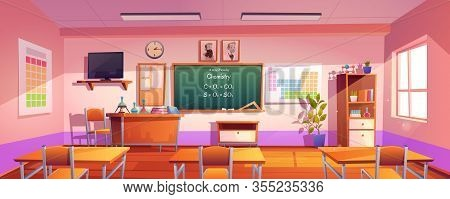 Classroom For Chemistry Learning With Formula On Chalkboard. Vector Cartoon Illustration Of Empty Sc