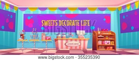 Candy Shop Empty Interior With Various Pastry, Cashier Desk, Shelf And Tables With Chocolate, Candyc