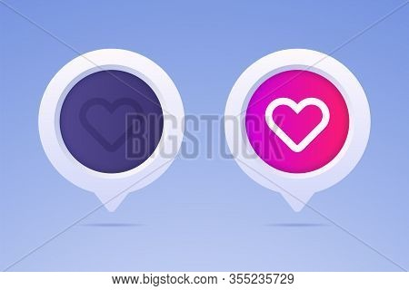 Like Button In 3d Style And Two Options. Active Button And Nonactive Button With Heart Shape And Spe