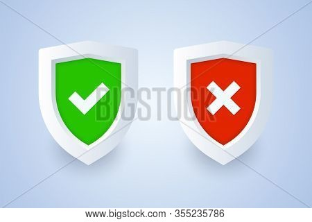 Shield Icon With Tick And Cross Symbols In 3d Style. Vector Illustration For Protection, Firewall, A