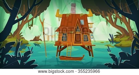 Stilt House In Swamp With Boat. Marsh Landscape With Old Hut. Vector Cartoon Illustration Of Wild Ra