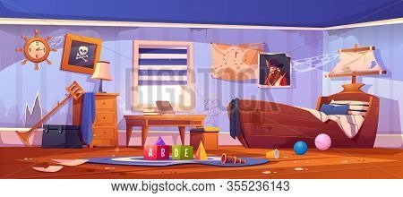 Abandoned Kids Bedroom In Pirate Style, Neglected Empty Interior With Ship Bed, Captain Portrait, Sp