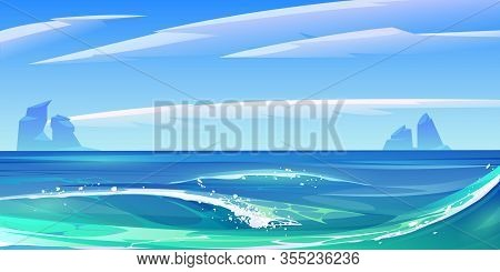 Ocean Or Sea Waves With White Foam, Nature Landscape With Fluffy Clouds In Sky And Rocks Sticking Up