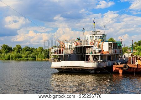Ferryboat At The Wharf On The River Dnieper, Ukraine