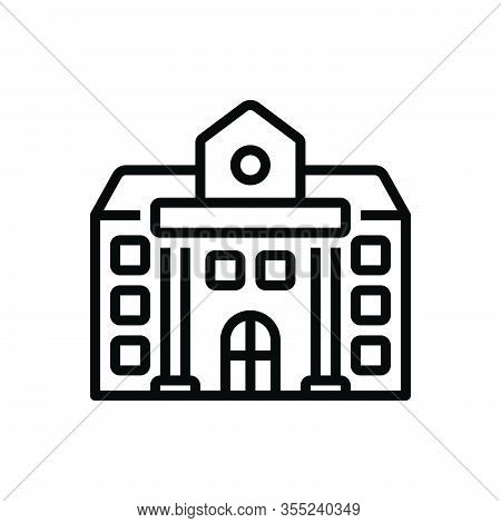 Black Line Icon For University Academy Educational Institution College School Governmental Architect