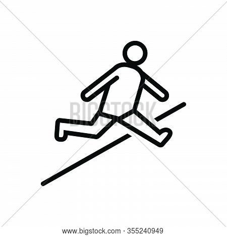 Black Line Icon For Jump Leap Hop Spurt Prance Athletic Sports Bounce Obstacle-race Person Youth Pla