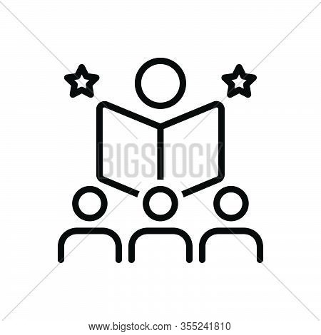Black Line Icon For Educate Teach Edify School Tutor Coach Give-a-good-lesson Book Student Read