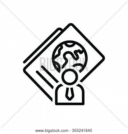 Black Line Icon For Immigration Passport Document Identification Visa Emigration International Map G
