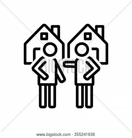 Black Line Icon For Neighborhood Nearness Closeness Neighbor Vicinal Neighbour Neighboring Acquainta