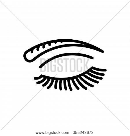 Black Line Icon For Eye-lashes-brow Eye Lashes Brow Beautiful Makeup Clarity Beauty Close