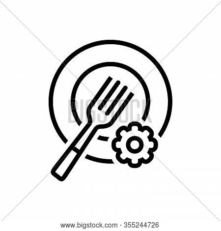 Black Line Icon For Plate-setting Plate Setting Fork Catering Dishware Restaurant Equipment