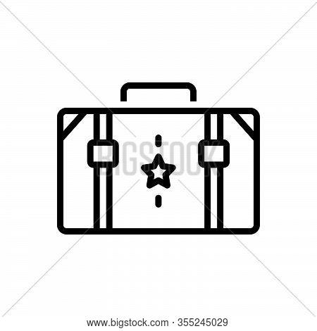 Black Line Icon For Suitcase Portmanteau Container Accessory Carry Travel-bag Valise Vanity-case Bag