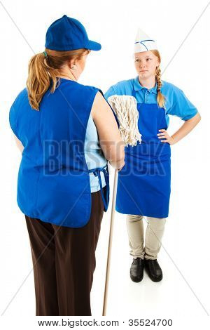 Boss handing mop to teenage worker.  Isolated on white.