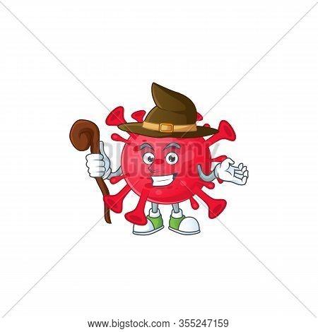 Sweet And Tricky Witch Coronavirus Amoeba Cartoon Character