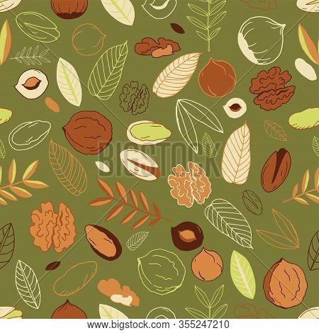 Seamless Pattern With Walnuts, Pistachios With Hazelnuts And Leaves On An Olive Background. Doodles.