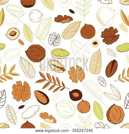 Seamless Pattern With Walnuts, Pistachios With Hazelnuts And Leaves On An  White Background. Doodles