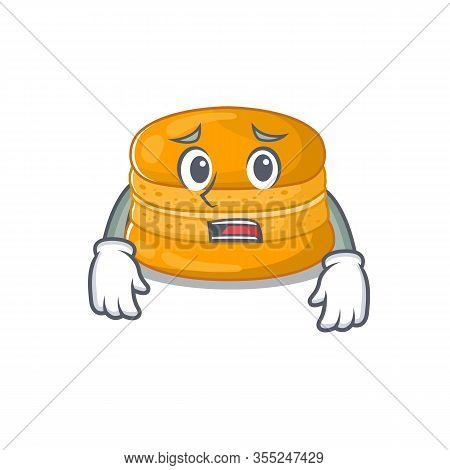 Cartoon Picture Of Orange Macaron Showing Anxious Face