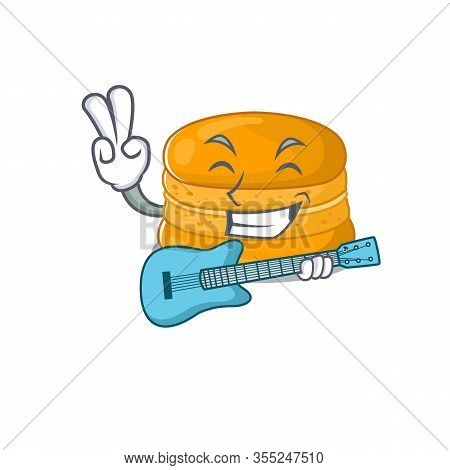 Supper Cool Orange Macaron Cartoon Playing A Guitar