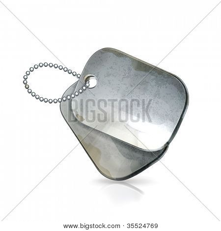 Military dog tags, old-style vector isolated