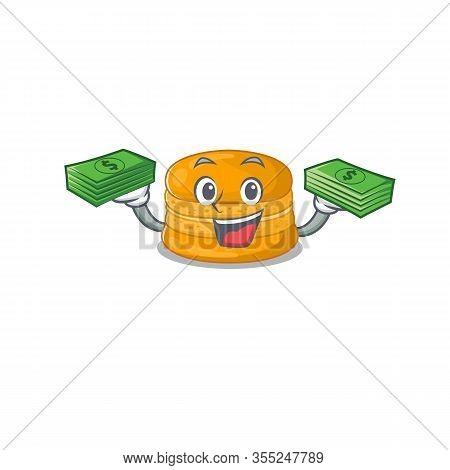 Happy Face Orange Macaron Character Having Money On Hands