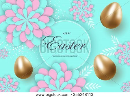 Easter eggs on blue background.Happy Easter greeting web  easter banner. Happy Easter, easter bunny, easter background, easter banners, easter flyer, easter design,easter with flowers on red background, Copy space text area, vector illustration.